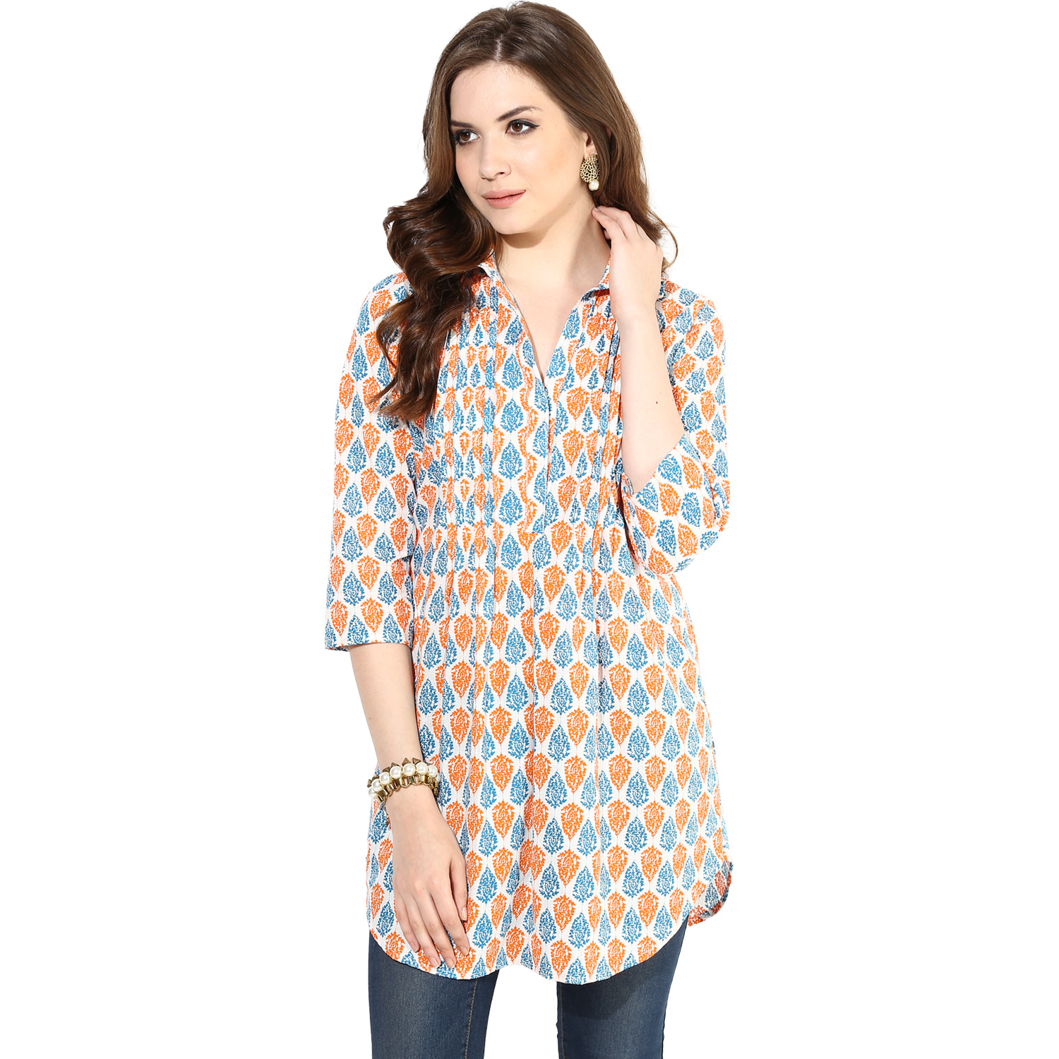 Orange blue screen print Tunic (INDI-063XXL)