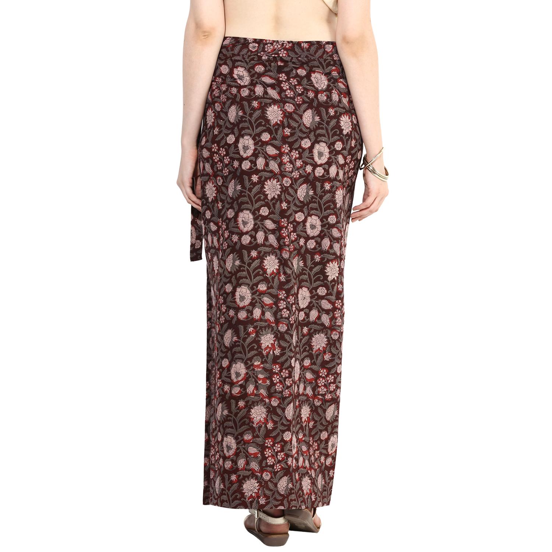 Kalamkari printed wrap-around skirt (INDI-80)