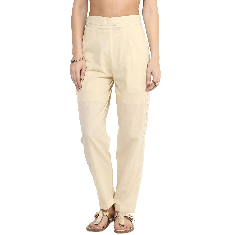 Beige cotton straight pants (INDI-25)