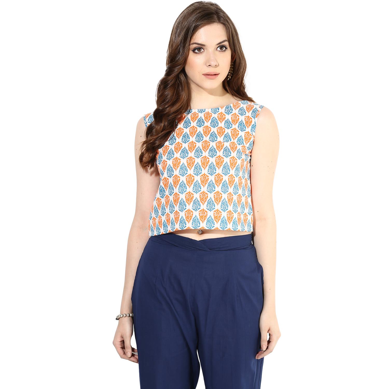 Orange Blue screen-printed crop top (INDI-074S)