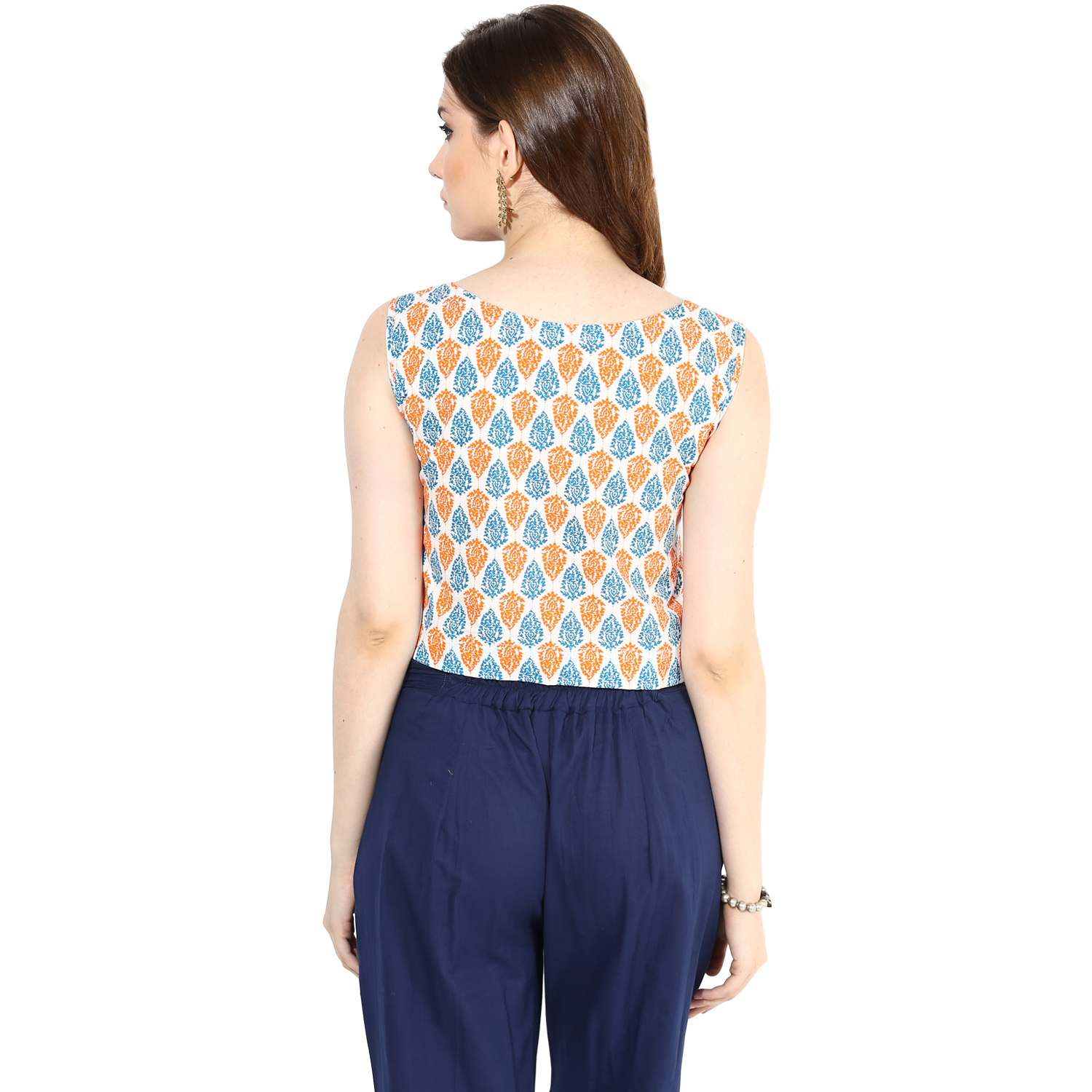 Orange Blue screen-printed crop top (INDI-074S)
