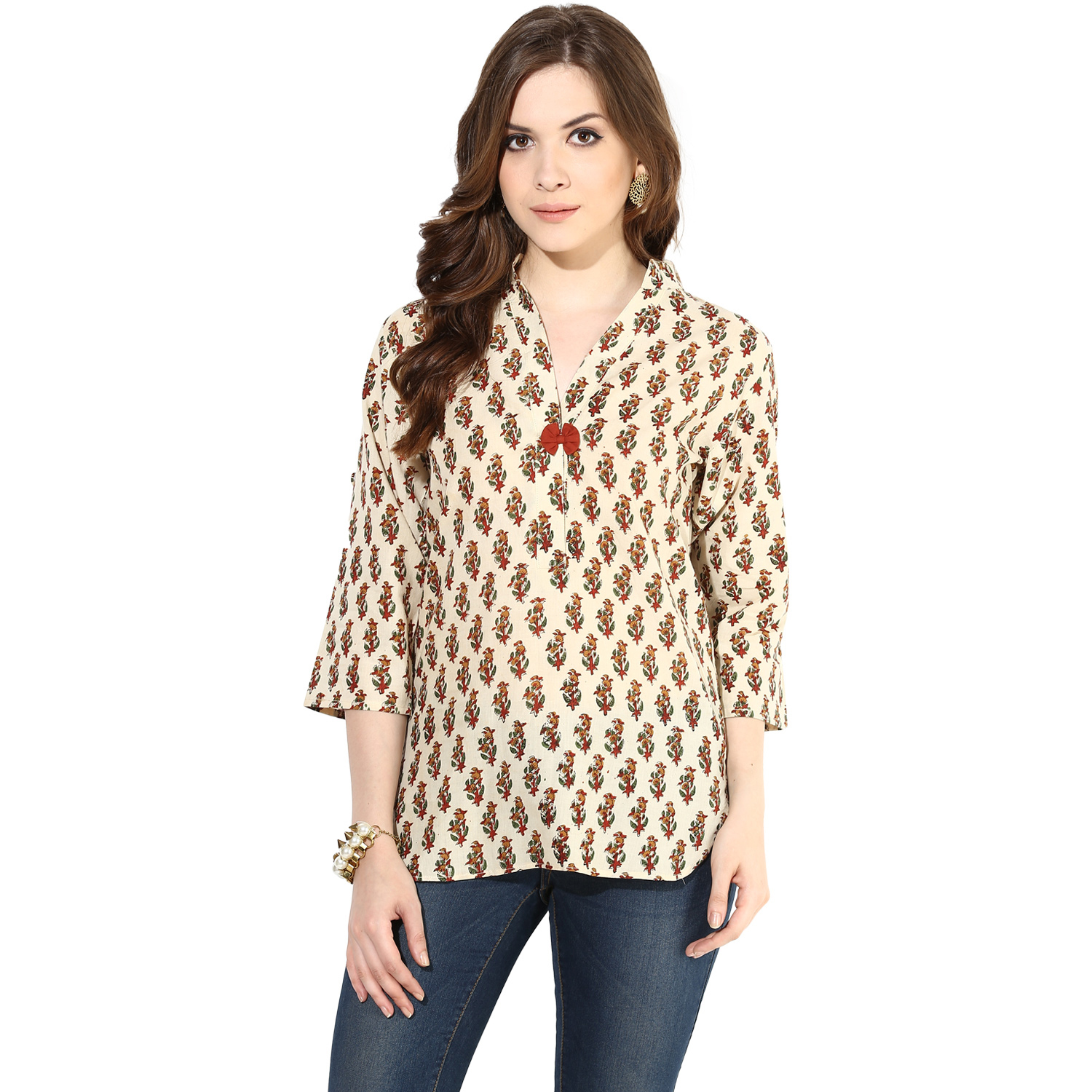Beige block printed tunic top (INDI-077S)