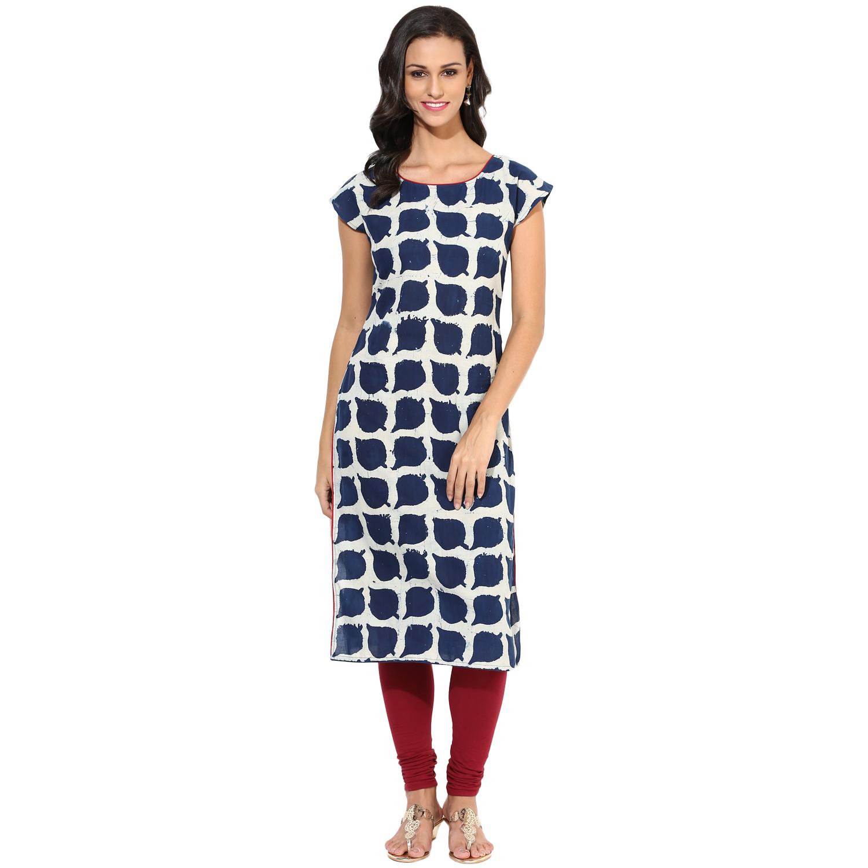 Indigo hand block-printed kurta (INDI-121)