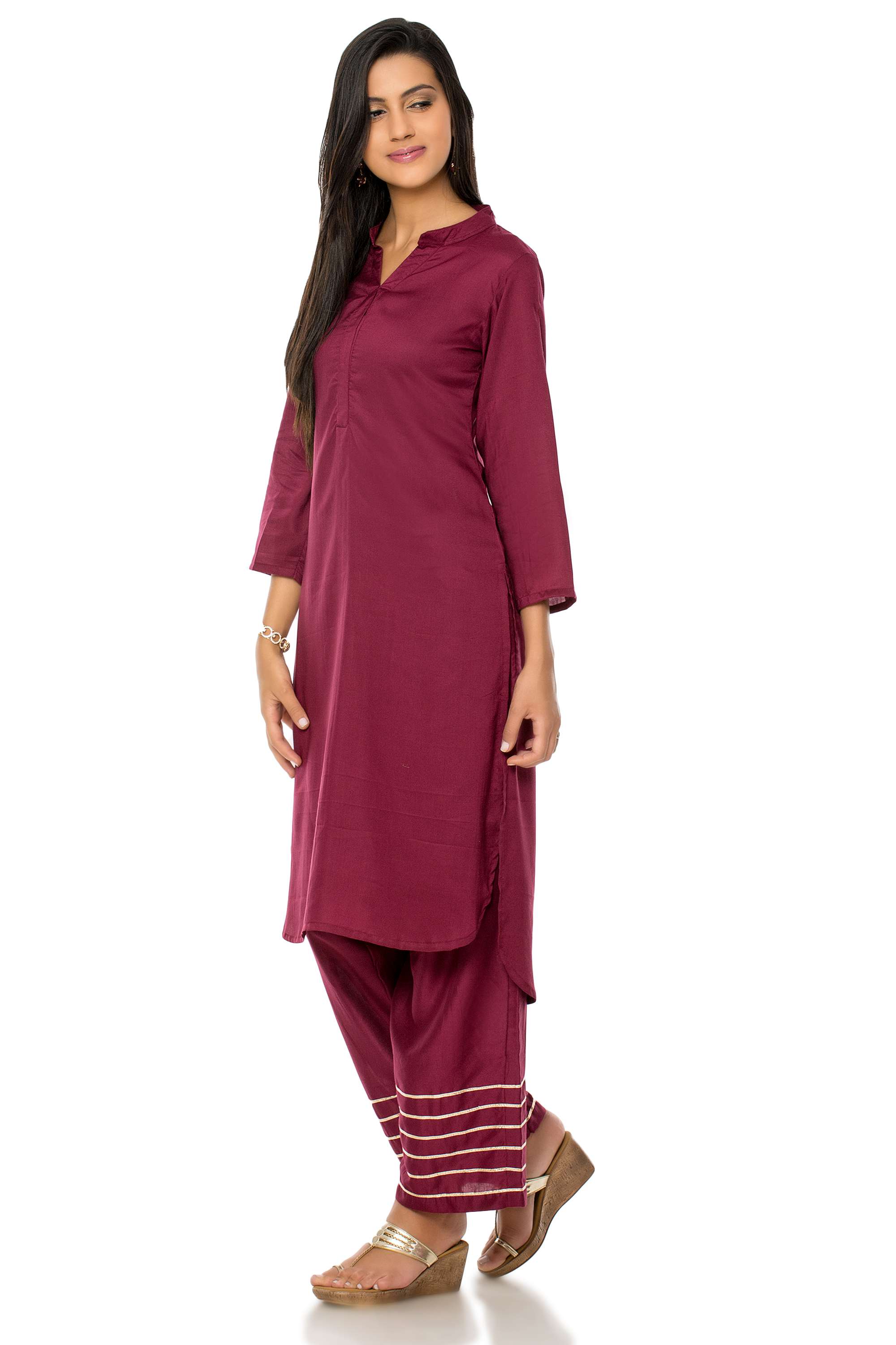 Maroon cotton kurta and palazzo set (INDI-304)
