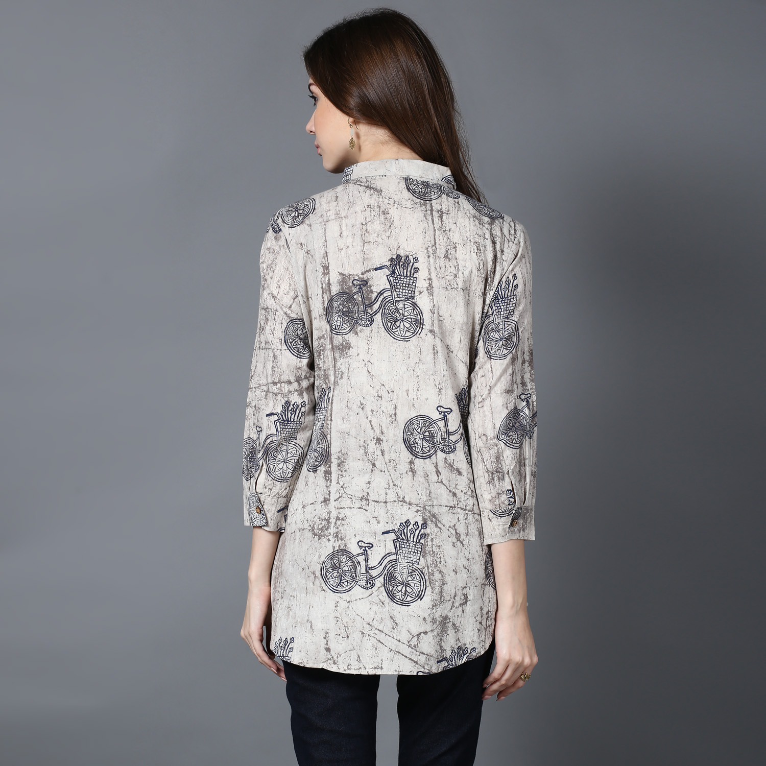 Beige Dabu block-printed cycle shirt (INDI-400)