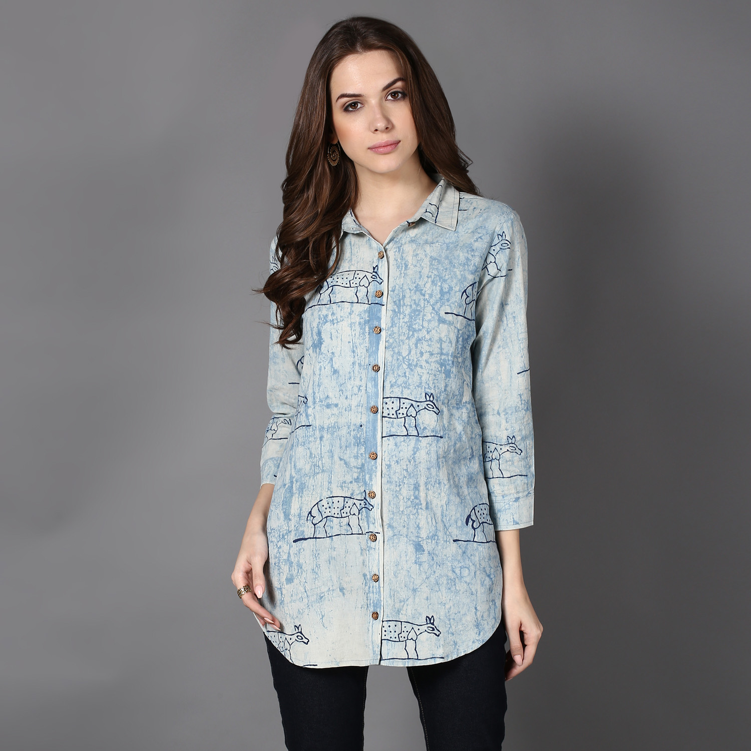 Blue Dabu block-printed shirt (INDI-401)