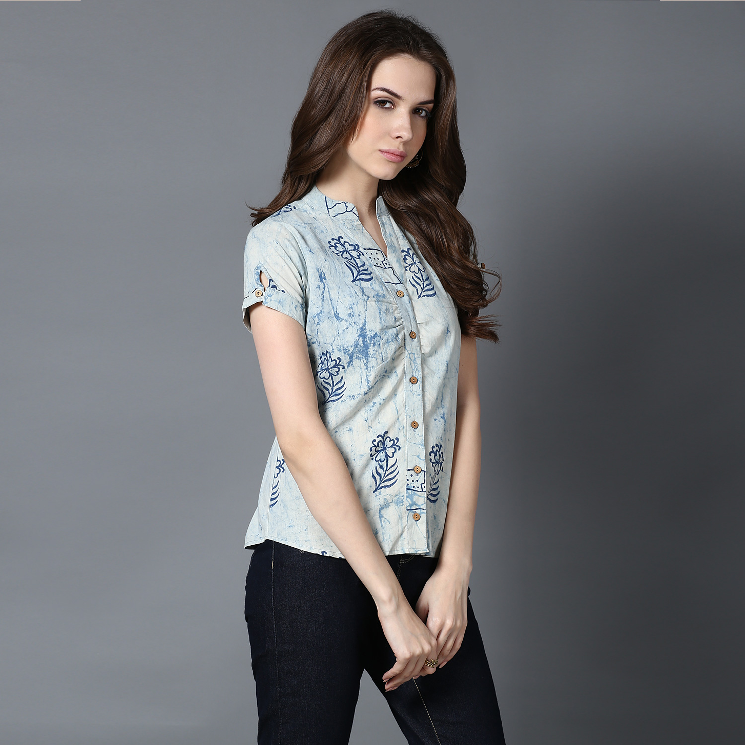 Blue Dabu block-printed top (INDI-402)