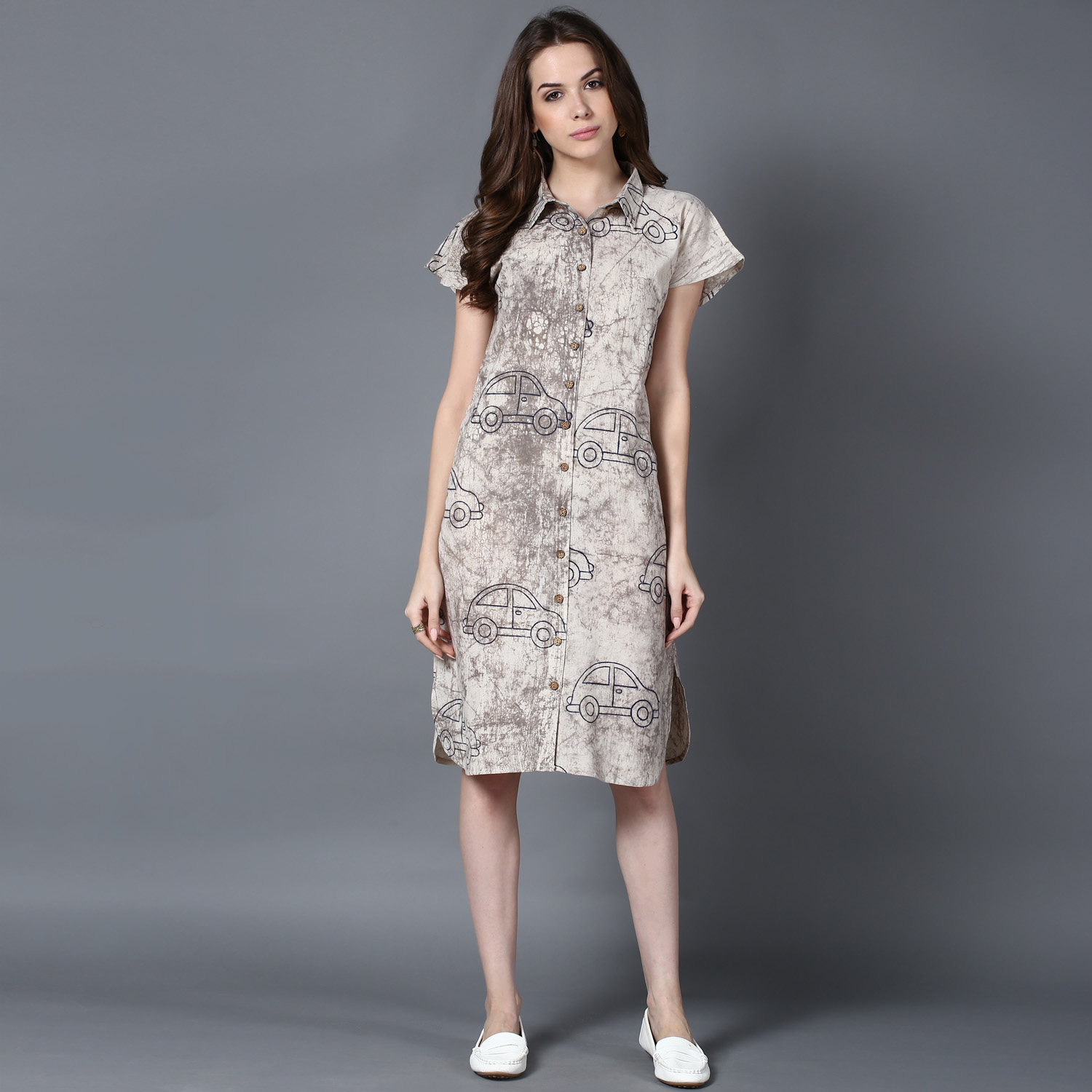 Beige Dabu block-printed shirt dress (INDI-404)