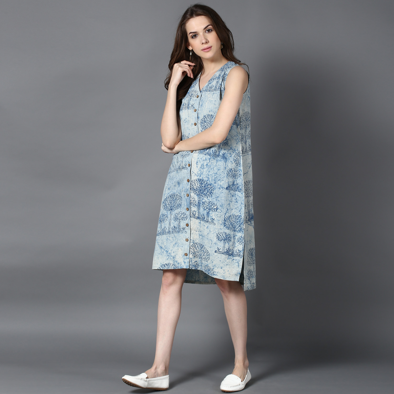 Blue dabu block-printed high-low shirt dress (INDI-405)