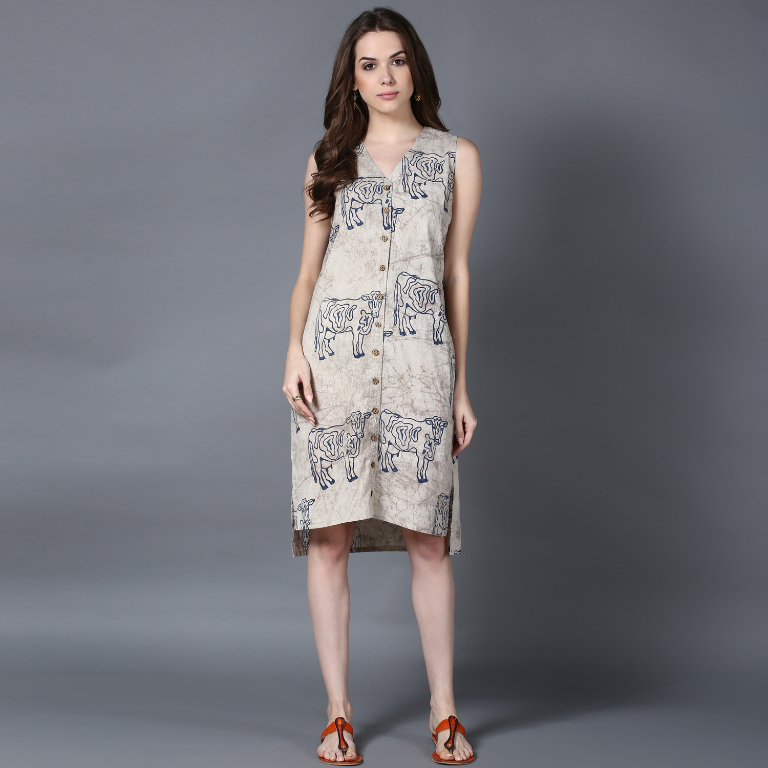 Grey dabu block-printed shift dress