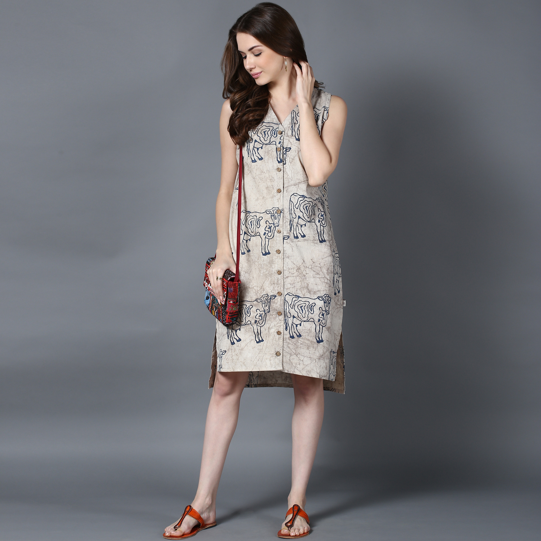 Beige Dabu block-printed high-low shirt dress (INDI-406)