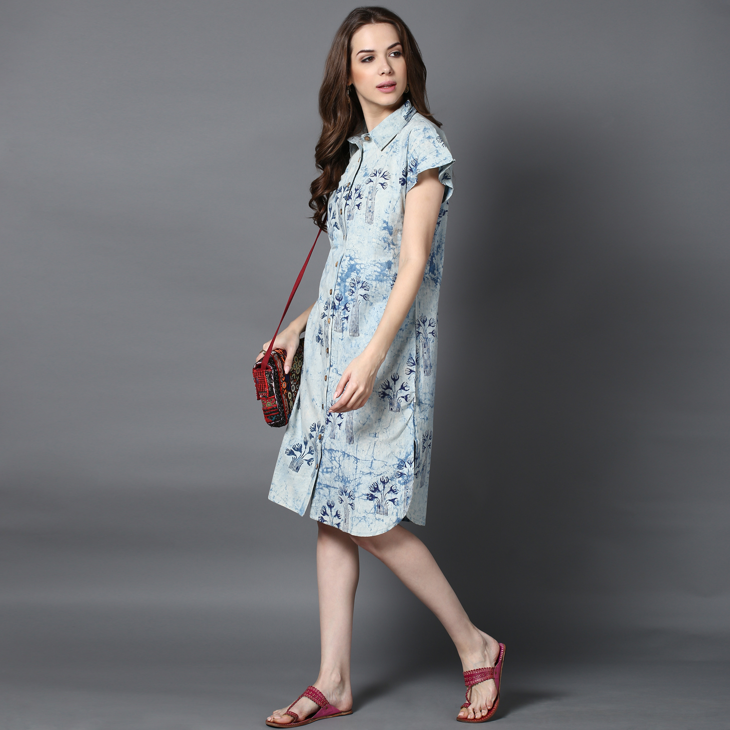 Blue dabu block-printed shirt dress