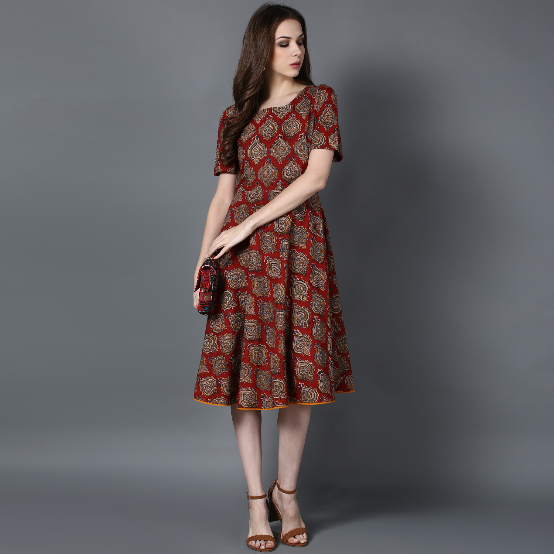 Maroon Kalamkari A-line dress (INDI-412)