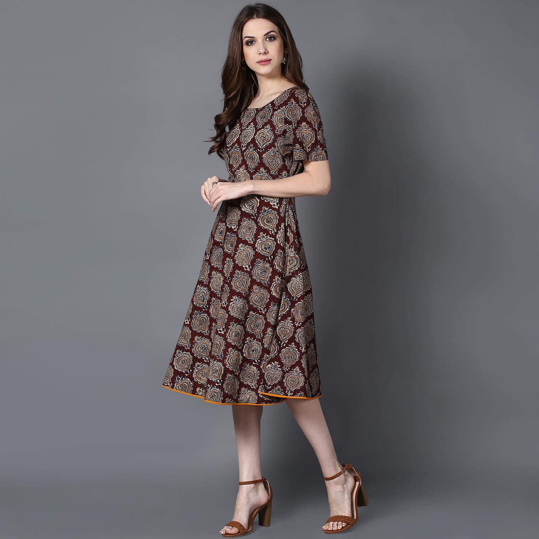 Brown Kalamkari fit and flare dress (INDI-413)
