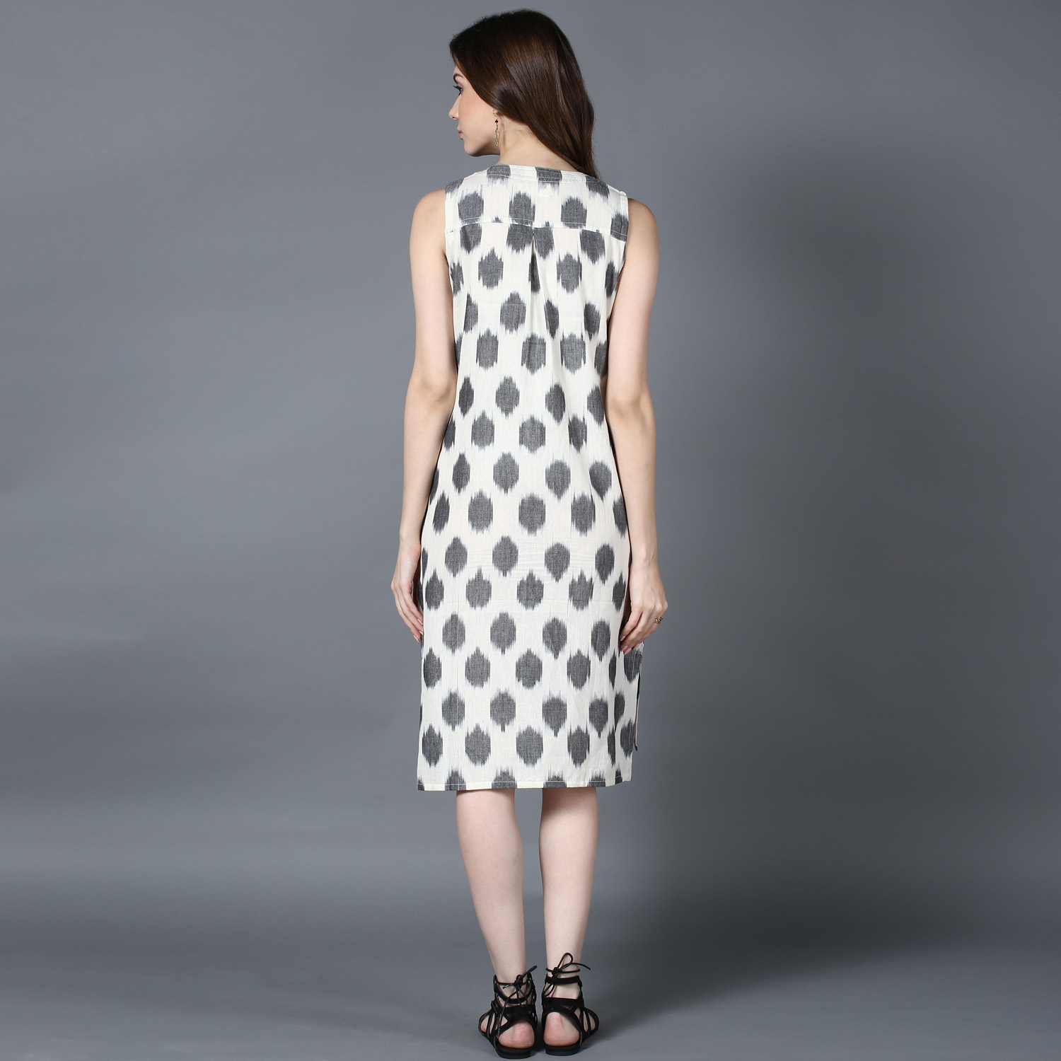 Cream Grey Ikat high-low shirt dress (INDI-417)