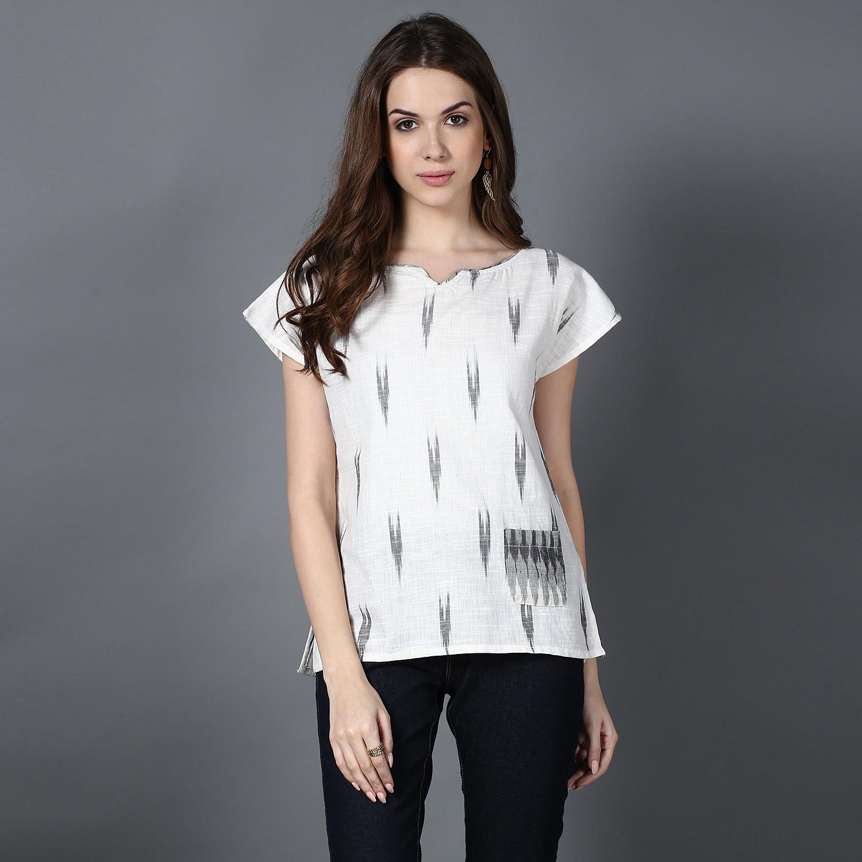 Cream Grey Ikat cotton top (INDI-419)