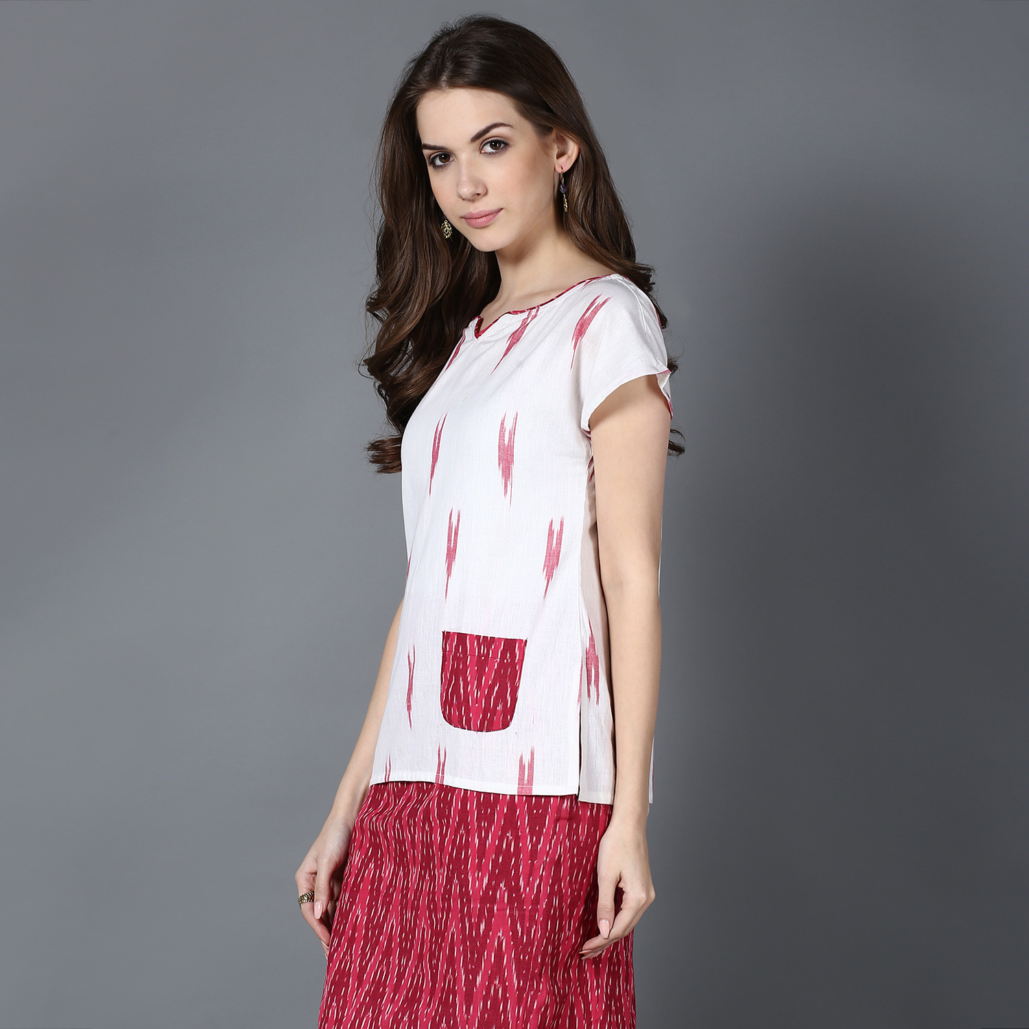 Cream Red Ikat cotton top (INDI-420)