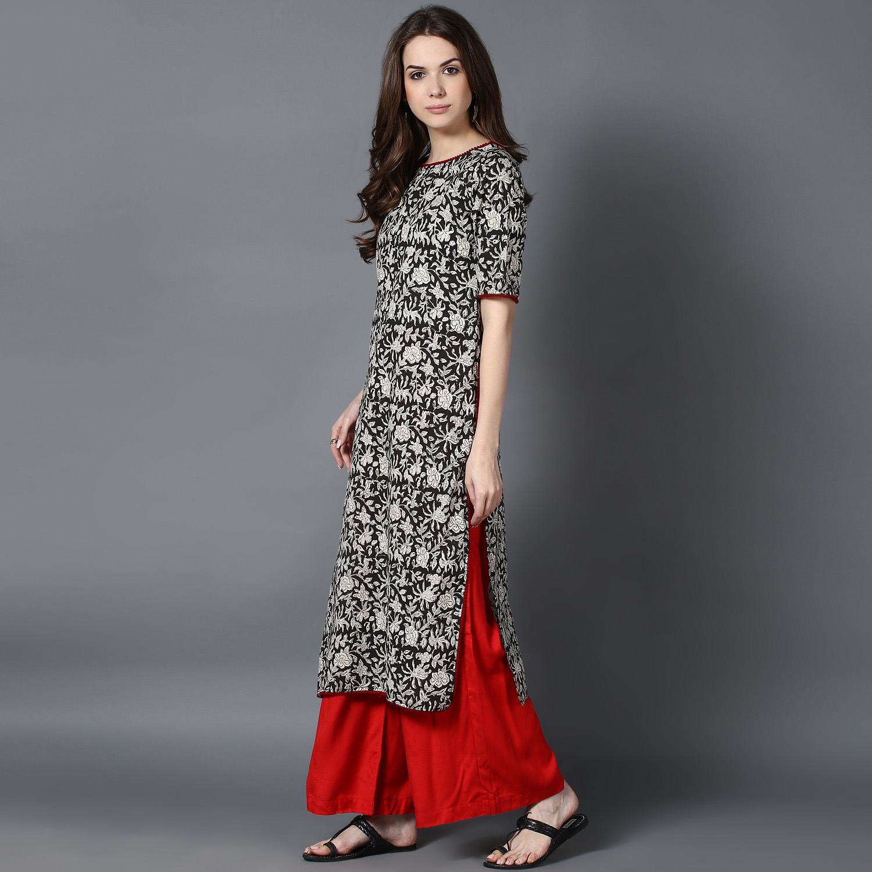 Black bagru printed kurta (INDI-425)
