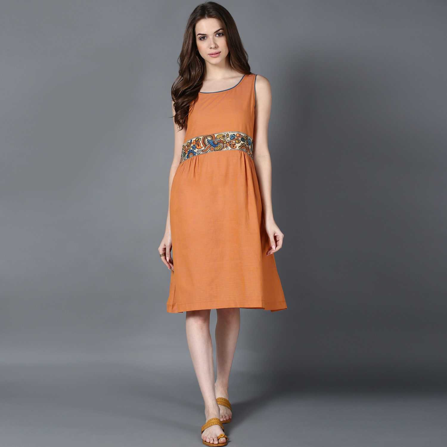 Peach gather detail dress (INDI-427)