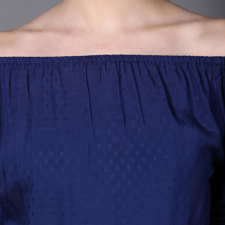 Blue Modal off-shoulder top (INDI-429)