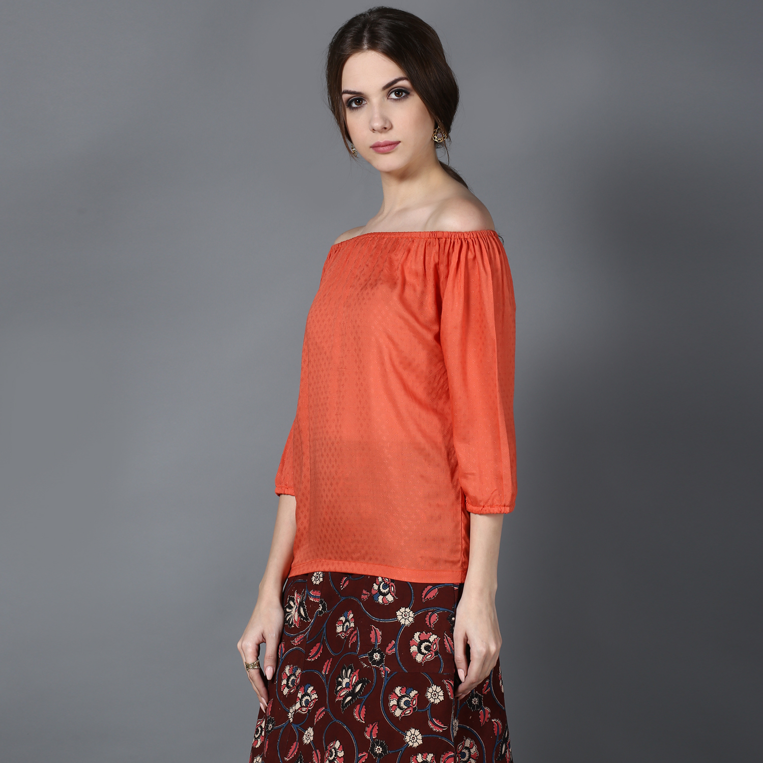 Peach Modal off-shoulder top (INDI-430)
