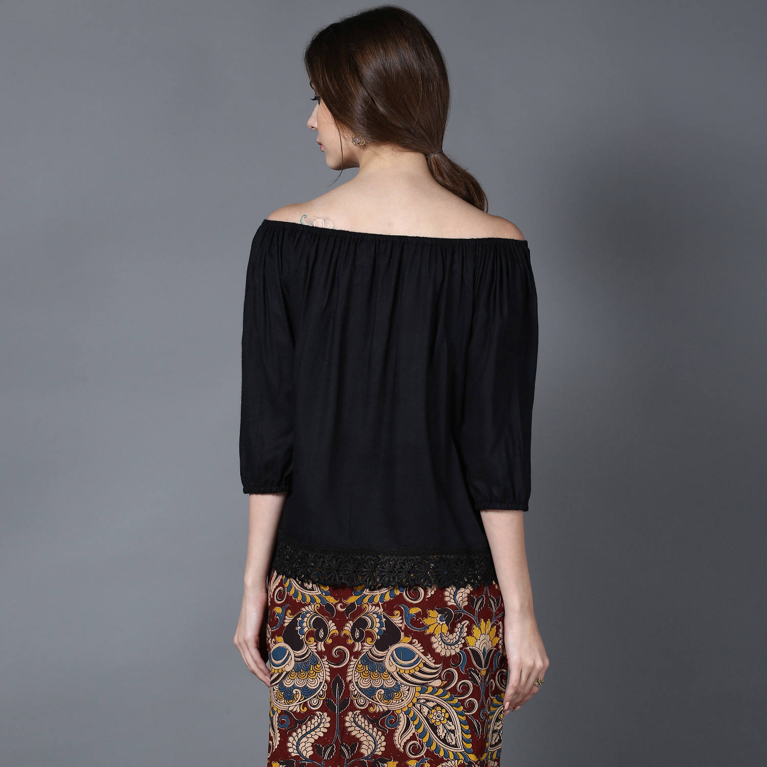 Black Modal off-shoulder top (INDI-431)