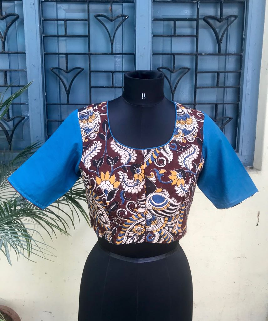 Brown Blue Kalamkari blouse (INDI-800)