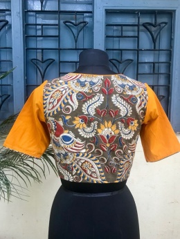 Olive Yellow Kalamkari blouse (INDI-802)