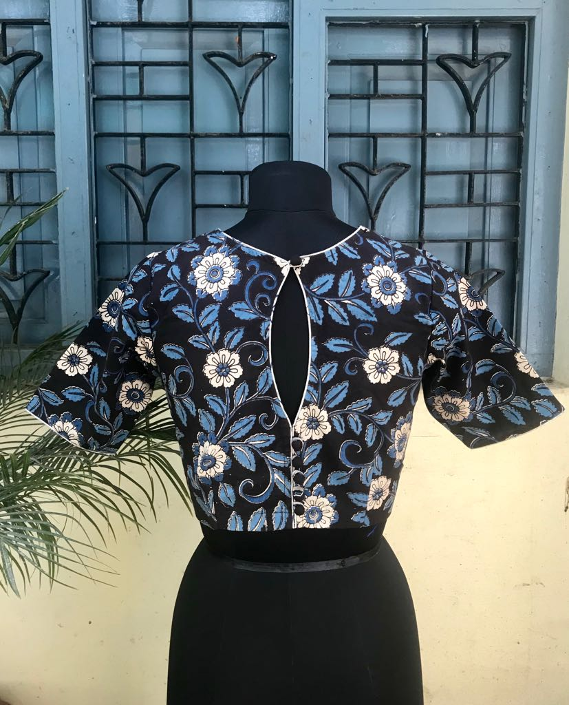 Blue Black Kalamkari cotton blouse (INDI-805)