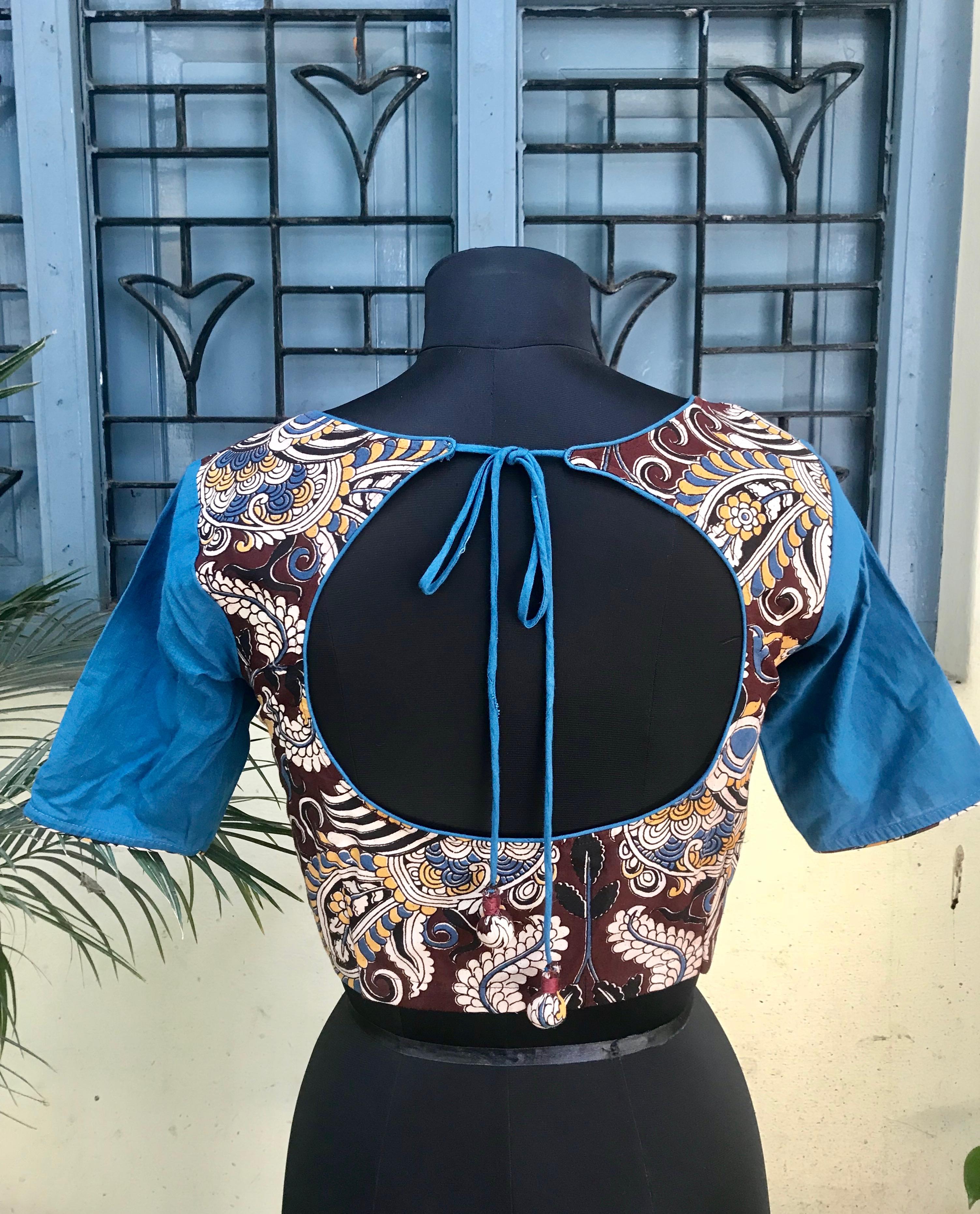 Brown Blue Kalamkari blouse (INDI-801S)