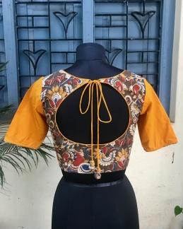Olive Yellow Kalamkari blouse (INDI-803)