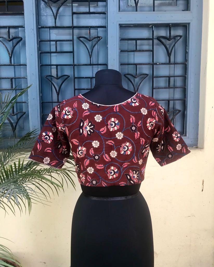 Maroon Kalamkari cotton blouse (INDI-807)