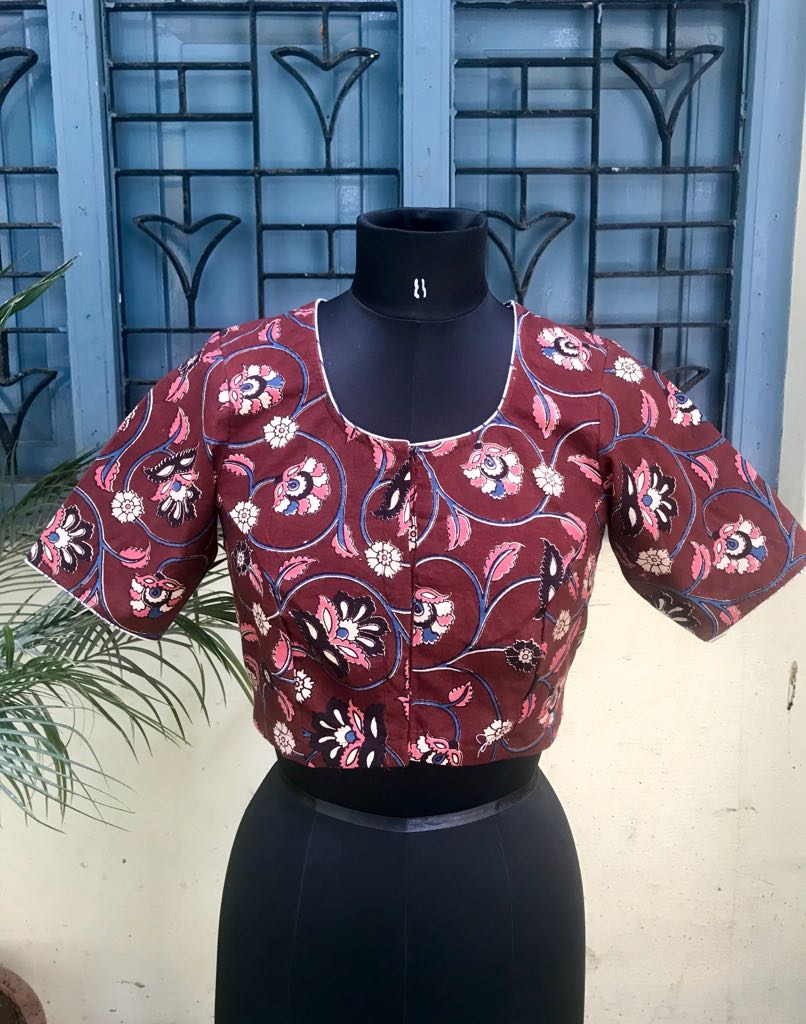 Maroon Kalamkari cotton blouse (INDI-808)