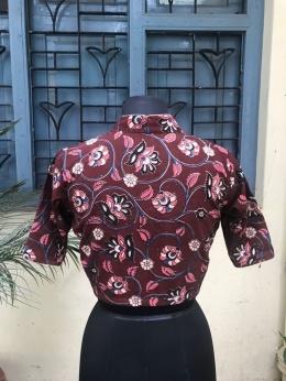 Maroon Kalamkari cotton blouse (INDI-809)