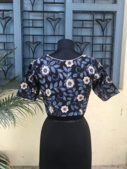 Blue Black Kalamkari blouse (INDI-804)