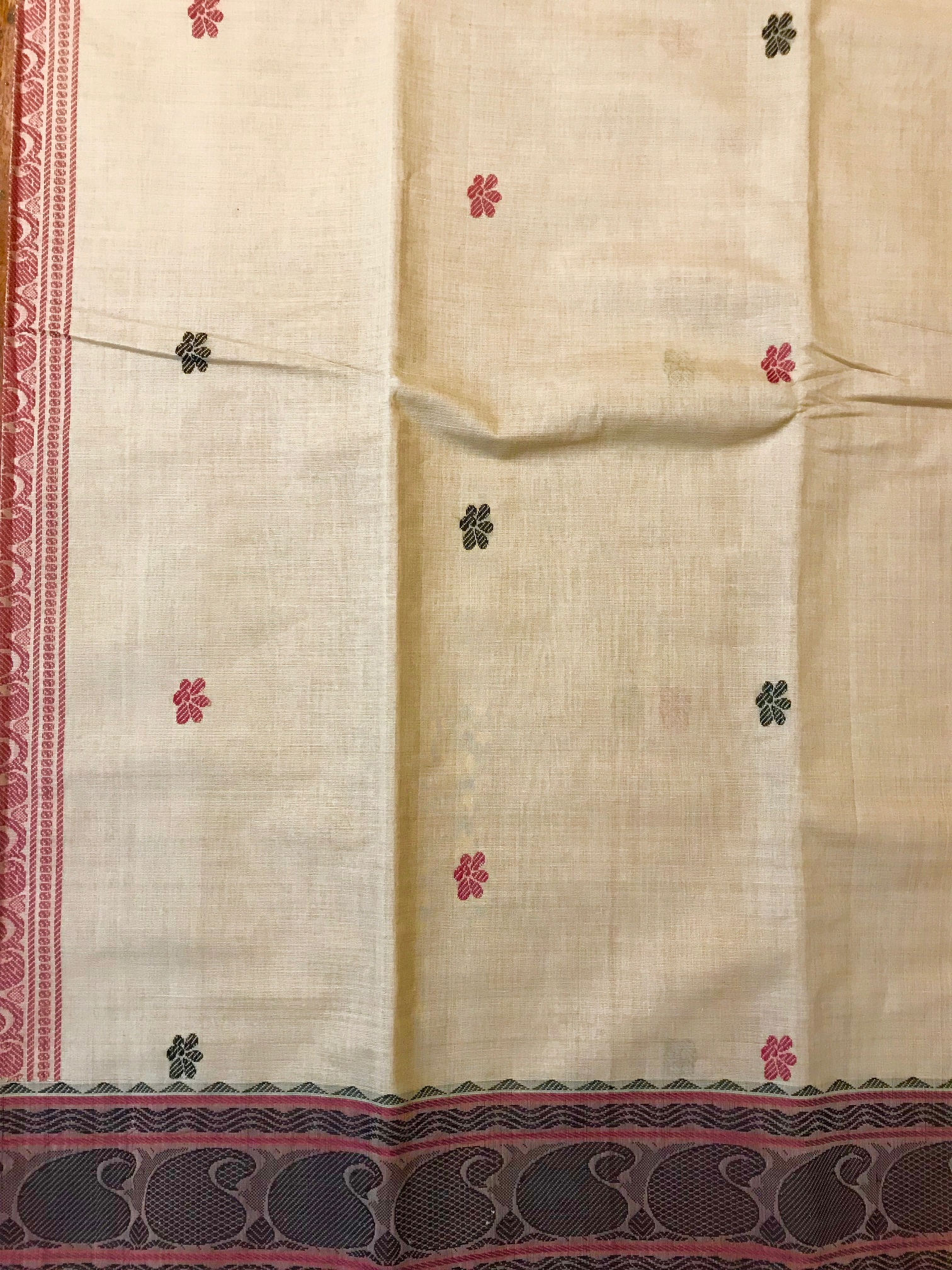 Beige and Maroon Kanchi Cotton Saree (1003)
