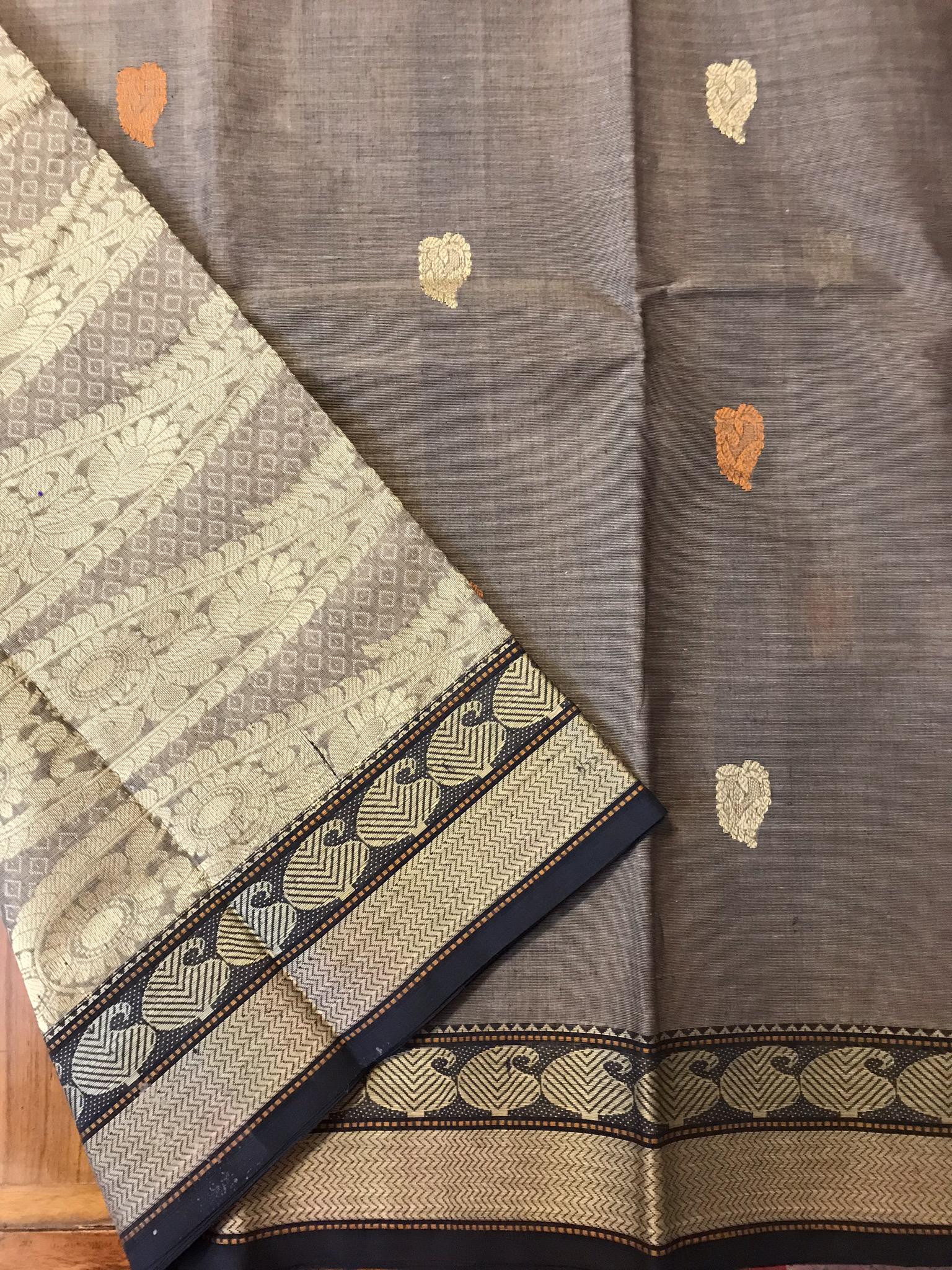 Grey and Black Kanchi Cotton Saree
