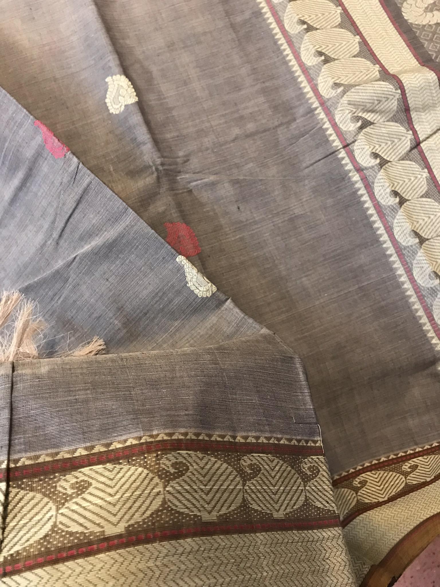 Grey and Mustard Kanchi Cotton Saree
