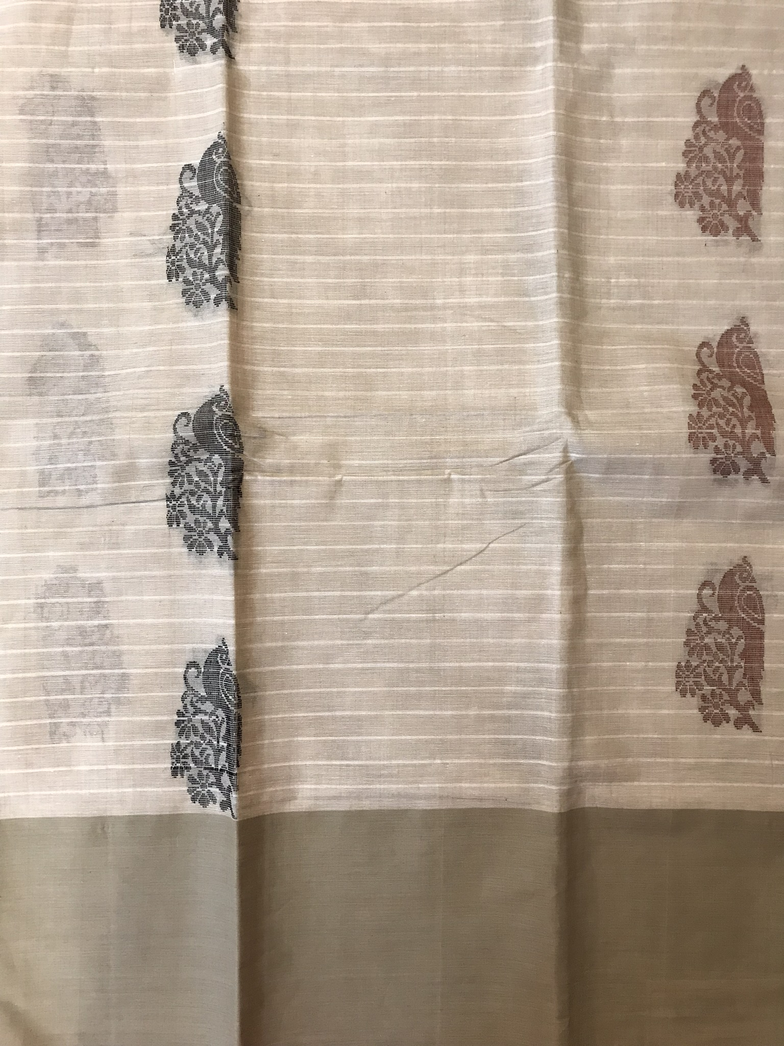 Beige and Brown Kanchi Cotton Saree