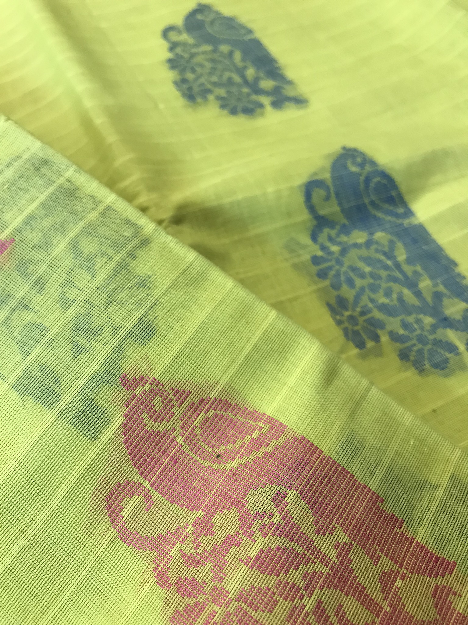 Lime Green Kanchi Cotton Saree