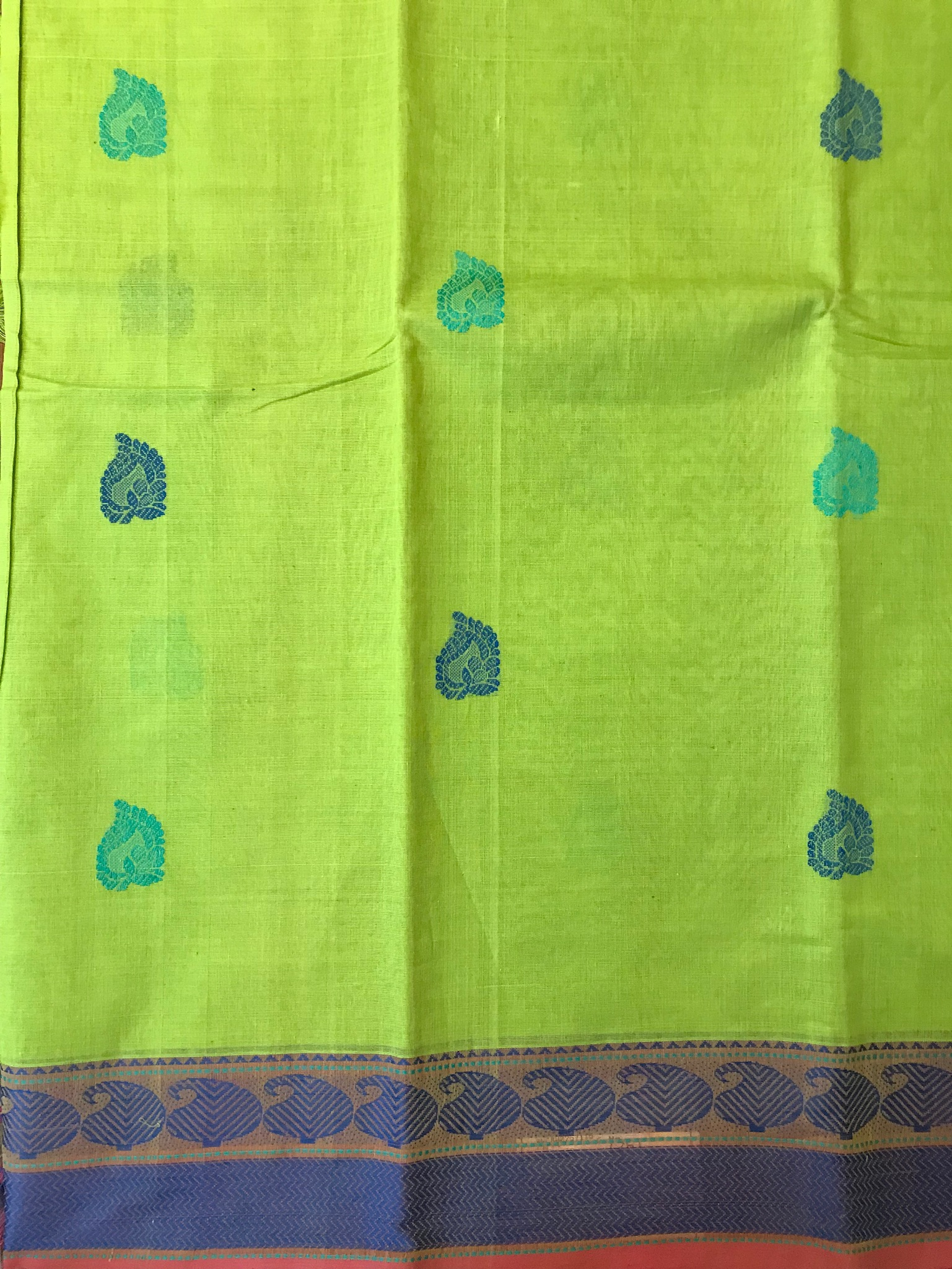 Lime Green and Blue kanchi Cotton Saree