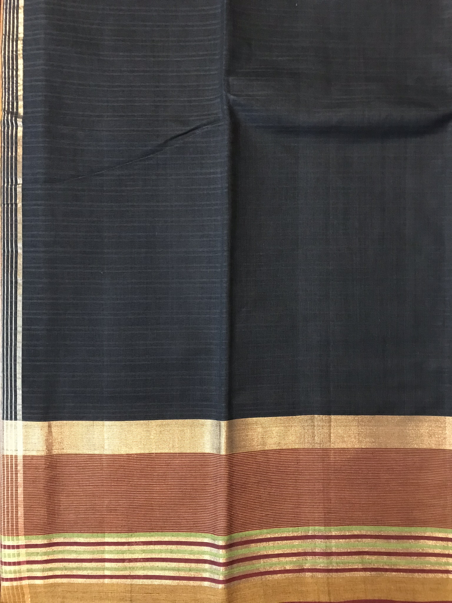 Black and Maroon Kanchi Cotton Saree (INDI-1010)