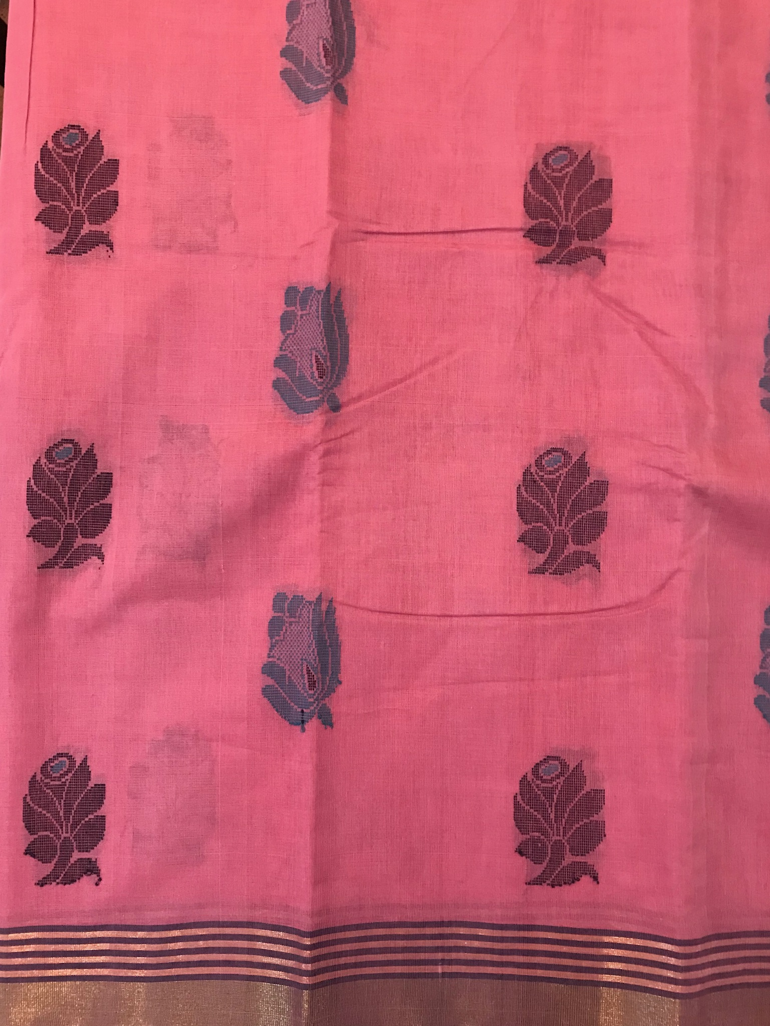 Pink and Midnight Blue Kanchi Cotton