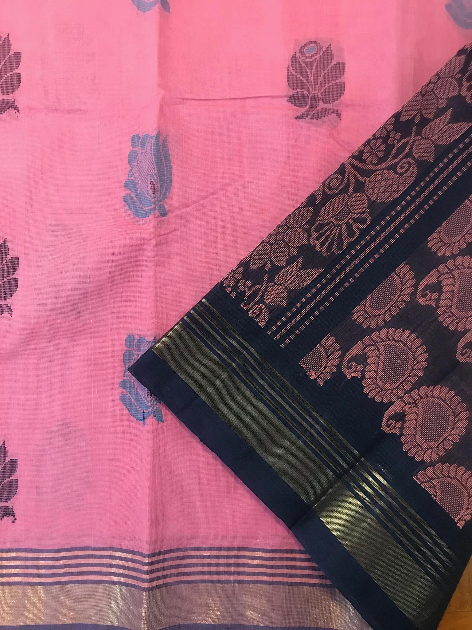 Pink and Midnight Blue Kanchi Cotton (INDI-1011)