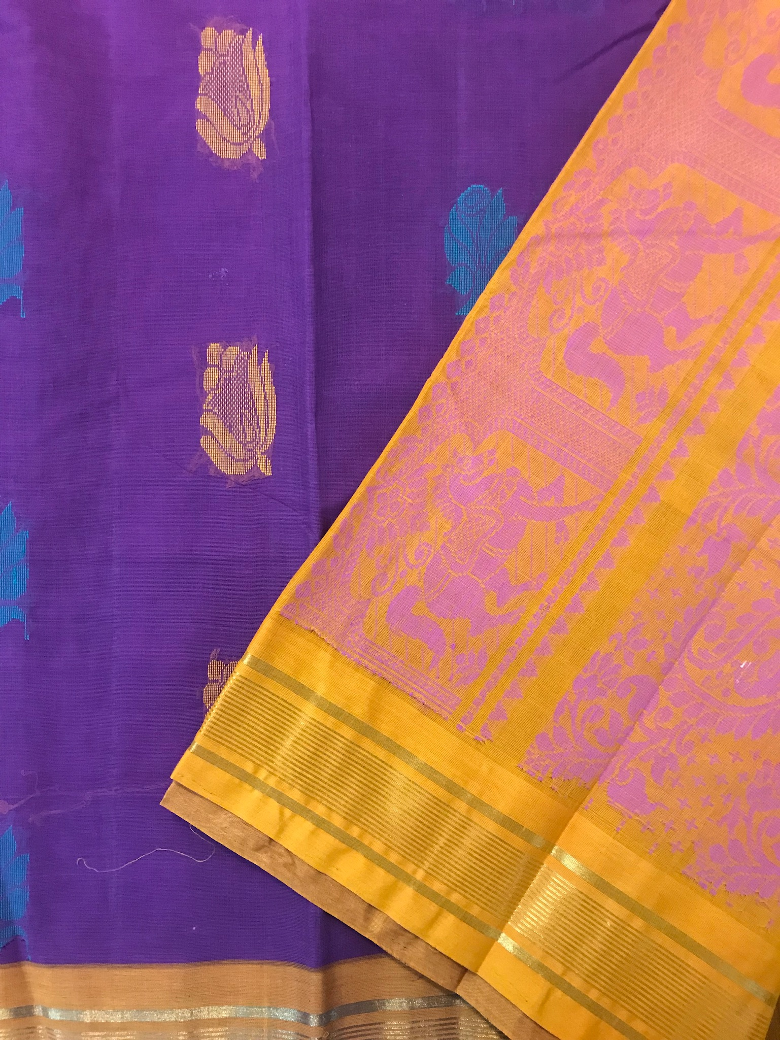 Purple and Yellow Kanchi Cotton Saree