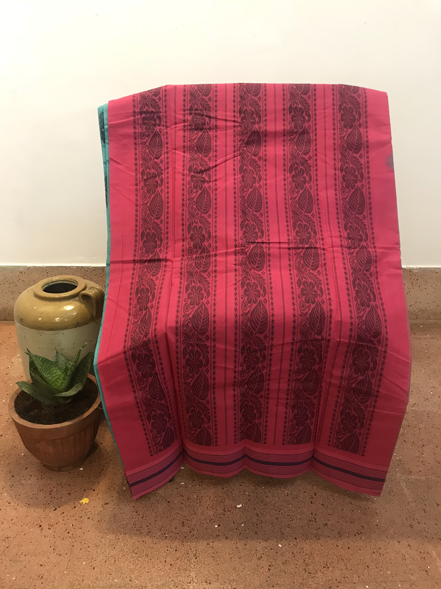 Teal and Pink Kanchi Cotton Saree (INDI-1013)