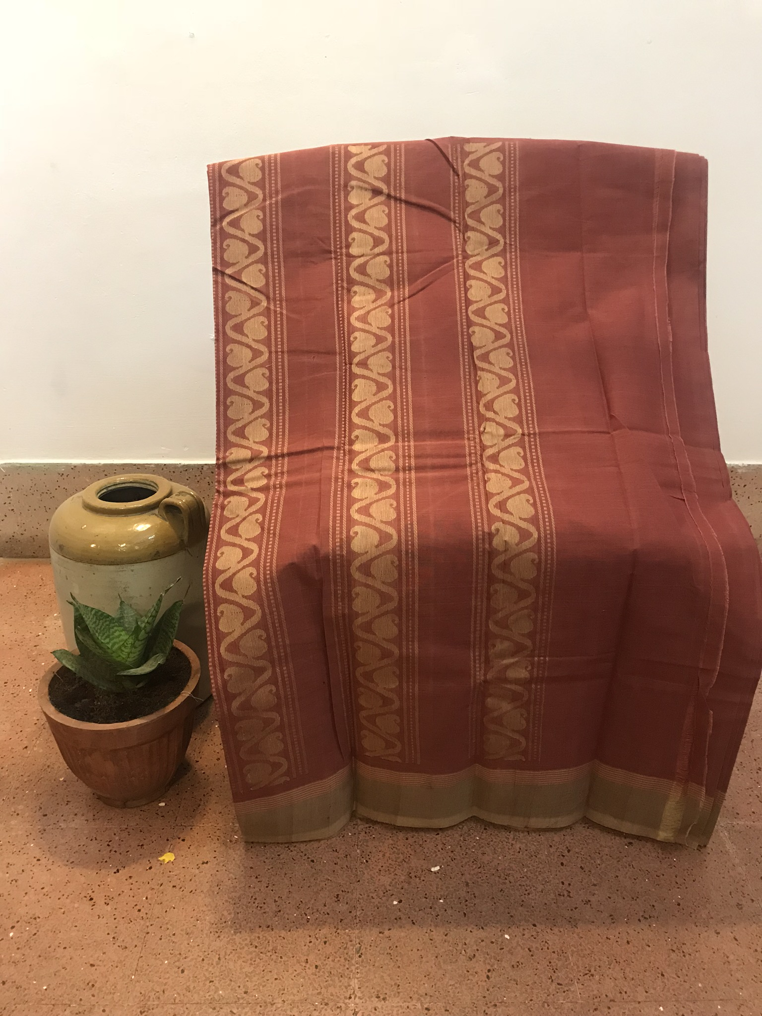 Burnt Heather Kanchi Cotton Saree (INDI-1014)
