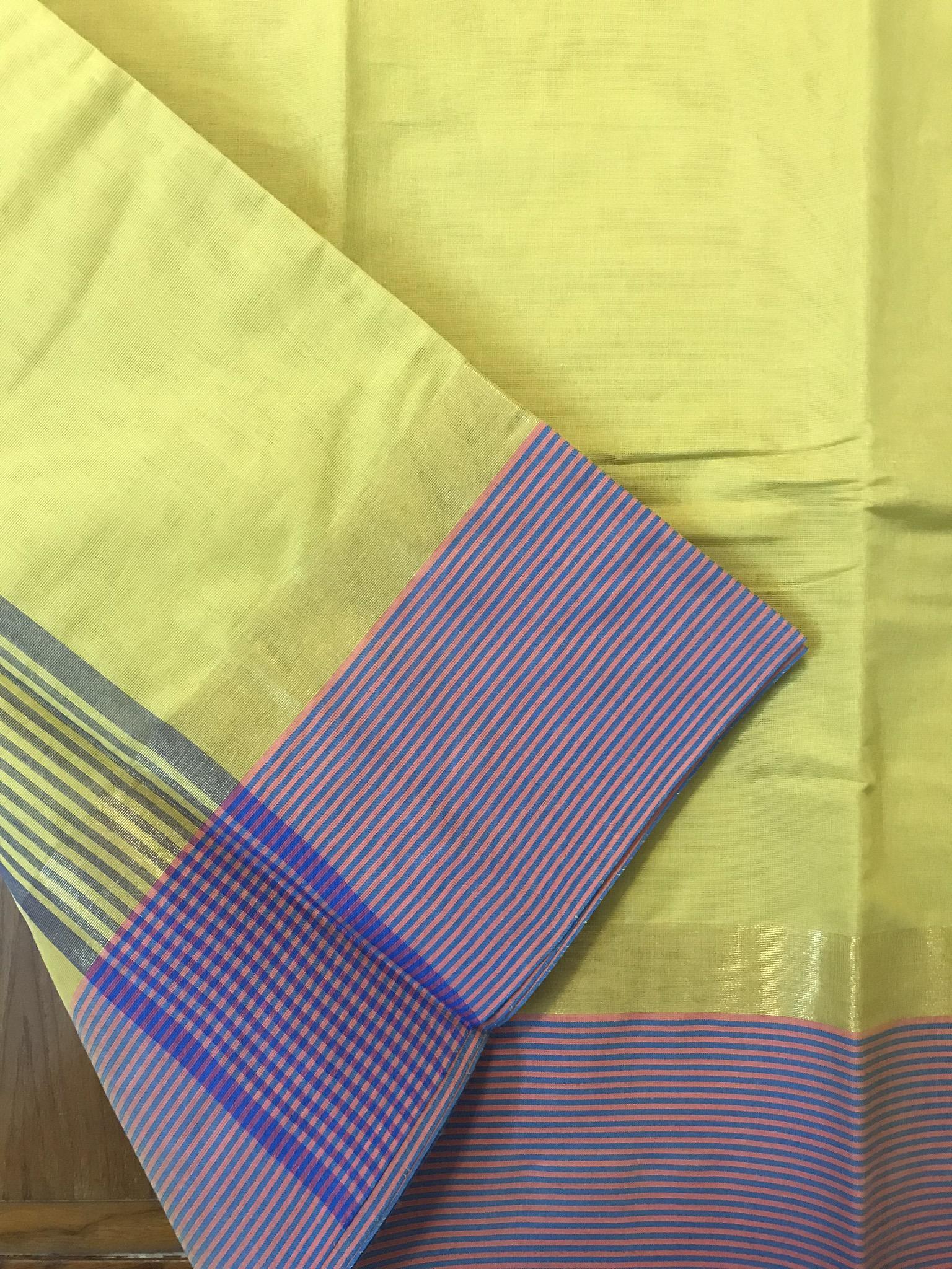 Yellow and Purple Kanchi Cotton Saree