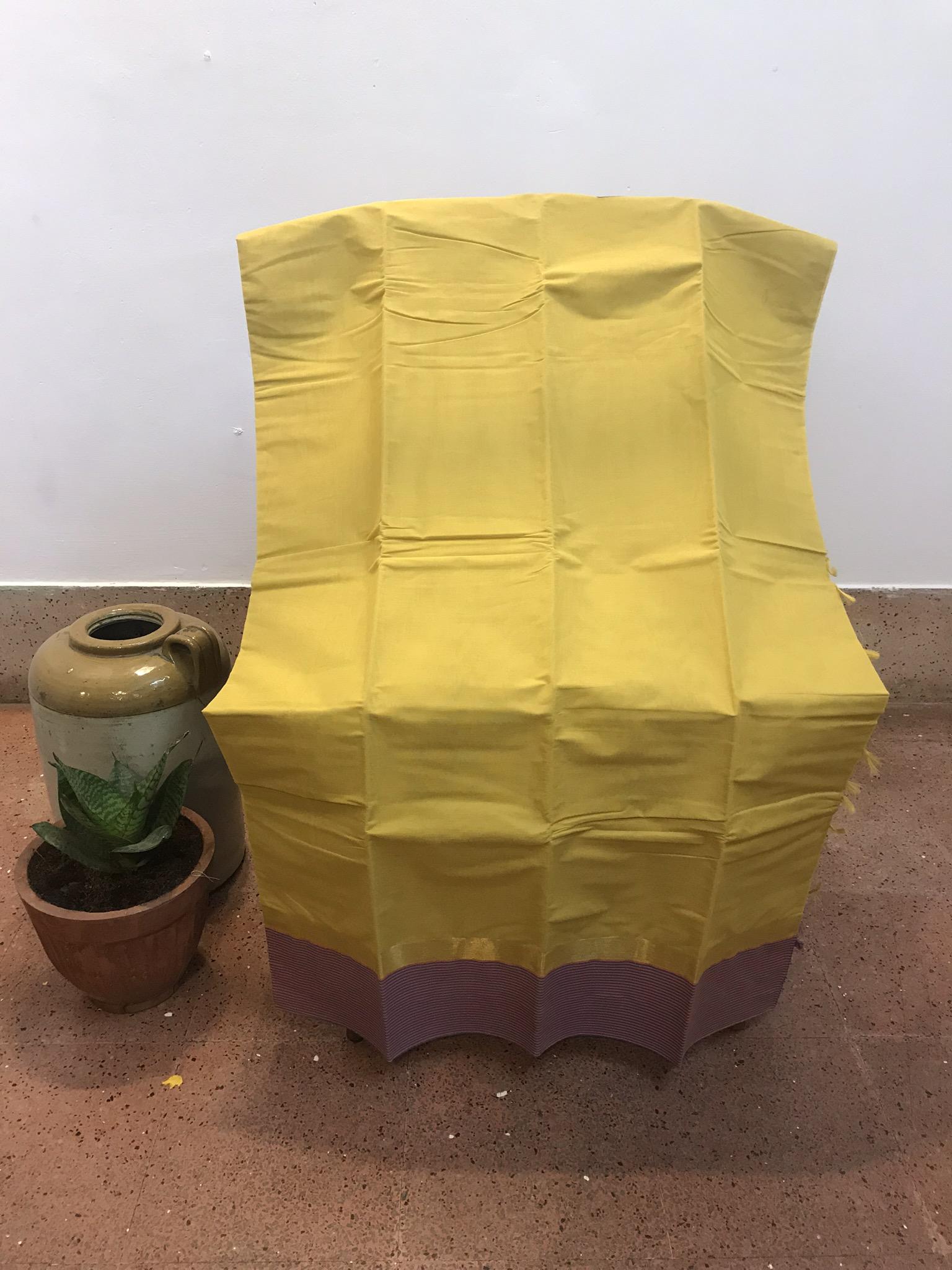 Yellow and Purple Kanchi Cotton Saree (INDI-1015)