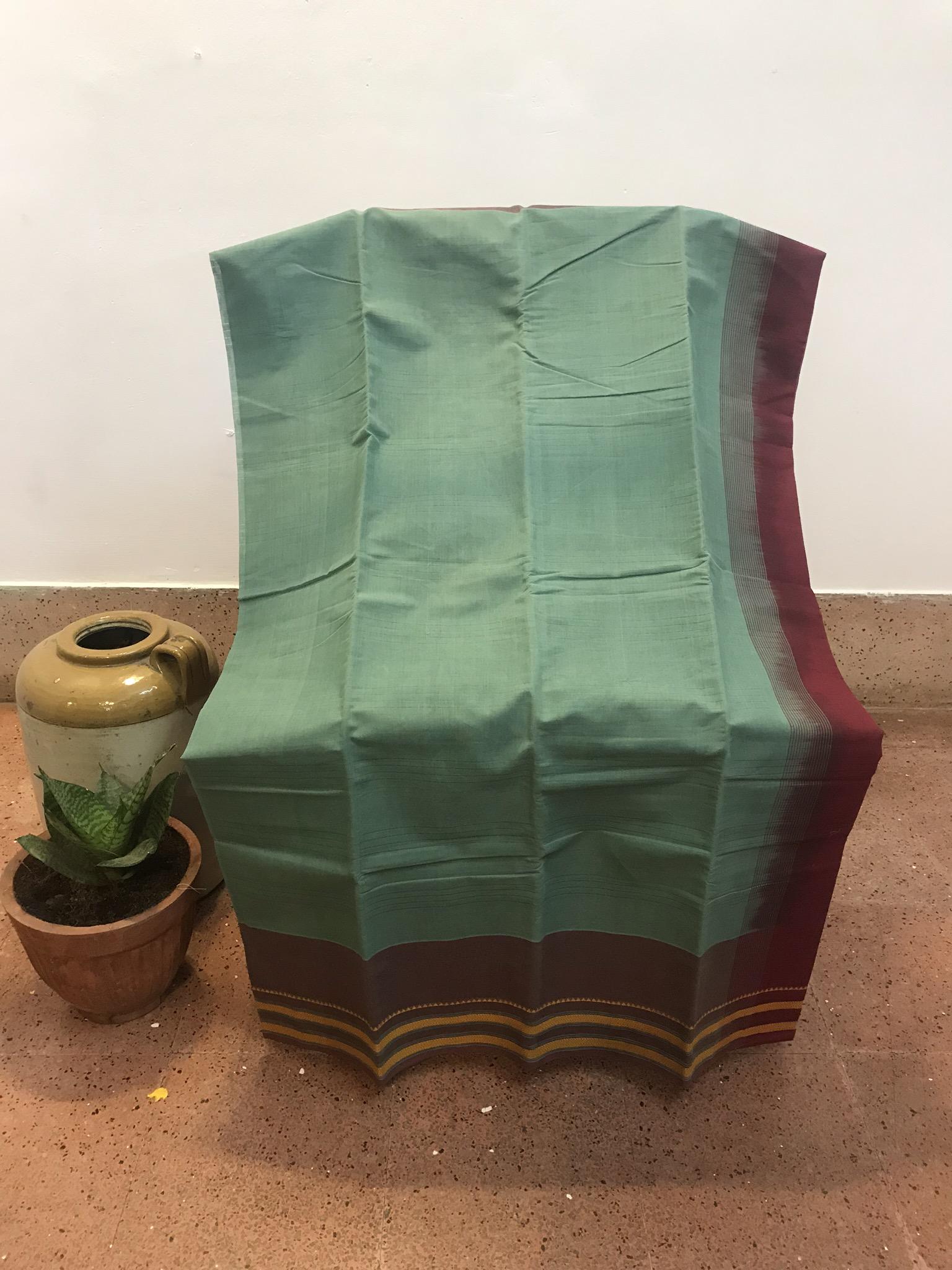 Sea Green Kanchi Cotton Saree (INDI-1016)